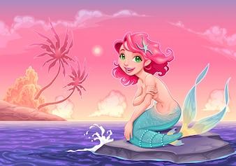 Jonge mermaid dichtbij de kust vector cartoon illustratie