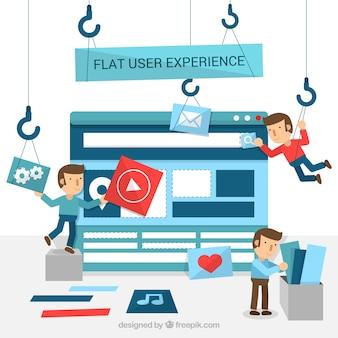 Jongen het bouwen van een website in vlakke stijl