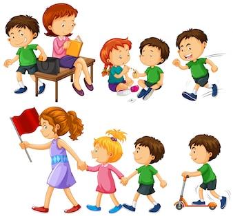 Jongen in groen shirt doen verschillende activiteiten illustratie