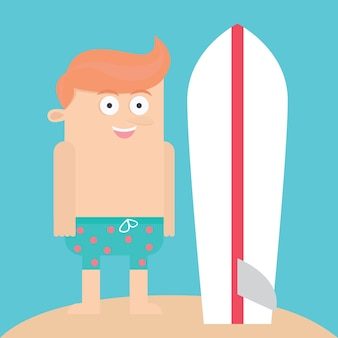 Jongen met surfplank cartoon vector illustratie