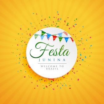 Juni festival van Braziliaanse Festa Junina achtergrond met confetti