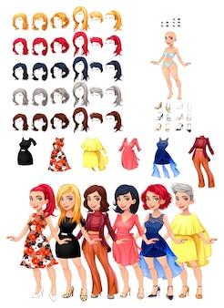 Jurken en kapsels spel Vector illustratie geïsoleerde objecten 6 kapsels met 5 kleuren elk 6 verschillende jurken 5 ogen kleuren 6 schoenen