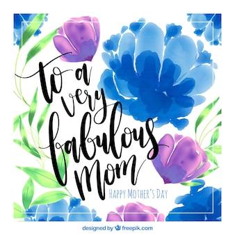 Kaart van de moederdag met paarse en blauwe bloemen