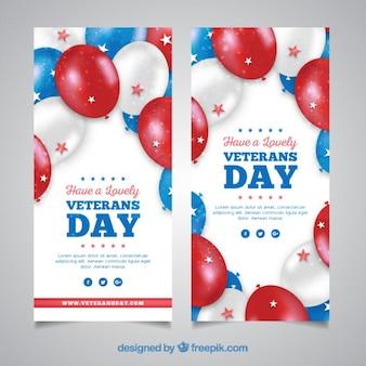 Kaarten veteranen dag met realistische ballonnen