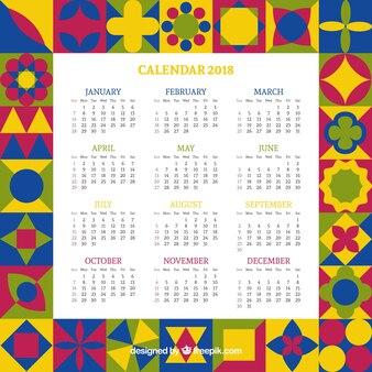 Kalender van kleurrijke geometrische vormen