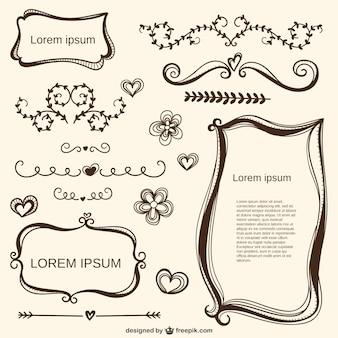 Kalligrafische liefde ornamenten en frames