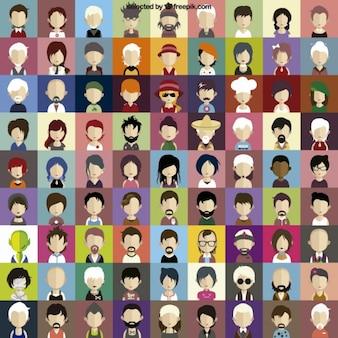 Karakter gezichten pictogrammen