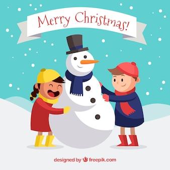 Kerst achtergrond met kinderen en sneeuw man