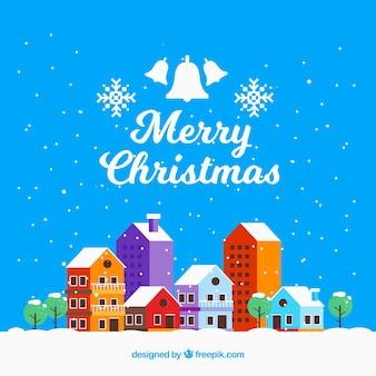 Kerst achtergrond met kleurrijke stad