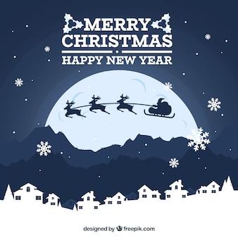 Kerst achtergrond met volle maan