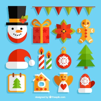 Kerst elementen collectie in plat design