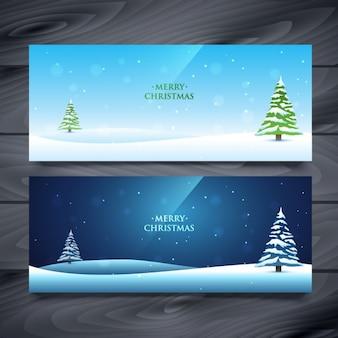 Kerst landschap banners