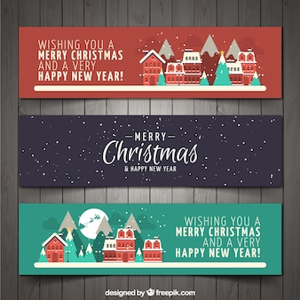 Kerst stad banners set