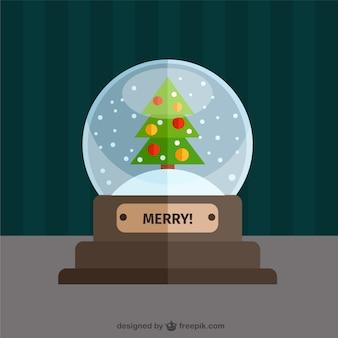 Kerstboom sneeuwbol in plat design