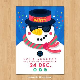 Kerstfeest poster met sneeuwpop