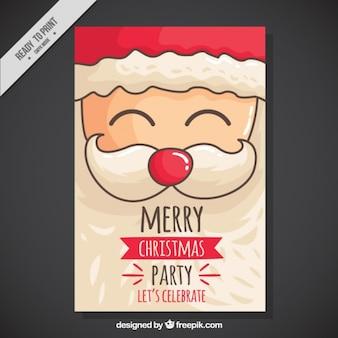 Kerstfeest uitnodiging met de hand getekende vrolijke santa