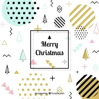 Kerstmis memphis achtergrond met gouden elementen