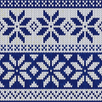 Kerstmis nordic naadloze breien illustratie in blauwe kleur