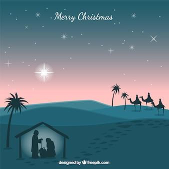 Kerststal silhouetten achtergrond