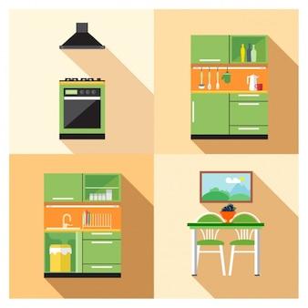 Mes en vork silhouet varianten iconen gratis download - Kleine keukenmeubilair ...