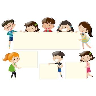 Kinderen met frames ontwerp
