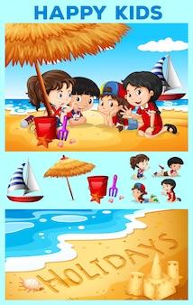 Kinderen met plezier op het strand illustratie