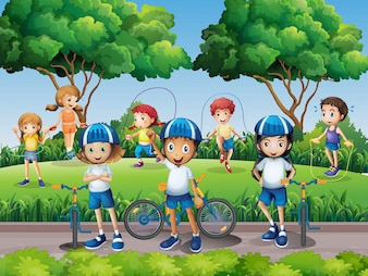 Kinderen uitoefenen in het park
