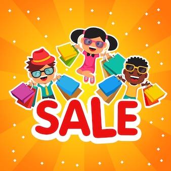 Kinderen verkoop. Gelukkige lachende en springende kinderen