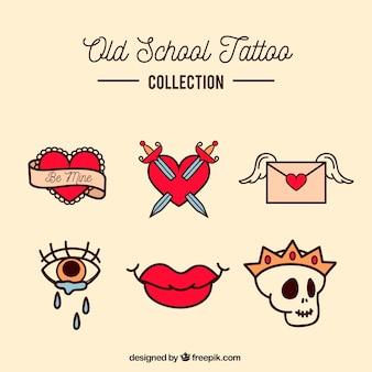 Kleine kleurrijke oude school tattoo collectie