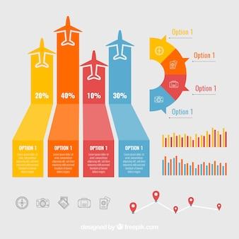 Kleur infographics met vliegtuigen en grafieken