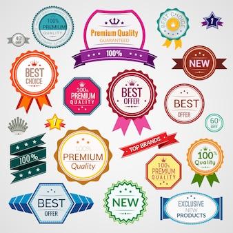 Kleur verkoop premium kwaliteit beste keuze exclusieve labels set geïsoleerde vector illustratie