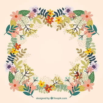 Kleurrijk bloemenframe met verscheidenheid aan bloemen
