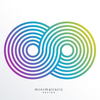 Kleurrijk oneindigheidssymbool gemaakt met strepen