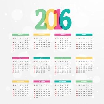 Kleurrijke 2016 kalender sjabloon