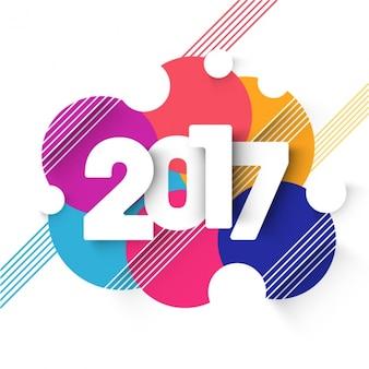 Kleurrijke 2017 achtergrond met cirkelvormen