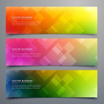 Kleurrijke abstracte banners set van drie