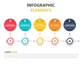 Kleurrijke abstracte cirkel business infographic template
