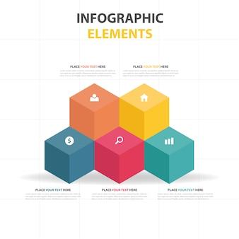 Kleurrijke abstracte doos infographic template