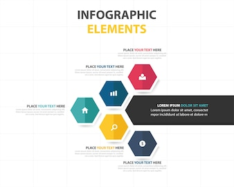 Kleurrijke abstracte hexagon business infographic template