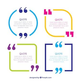 Kleurrijke citaat frames met aanhalingstekens