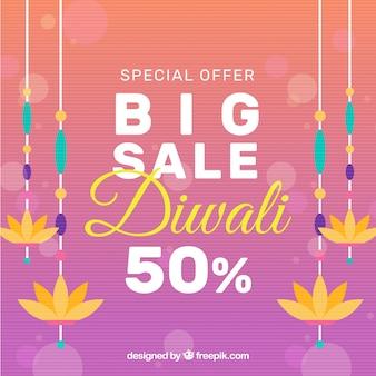 Kleurrijke diwali verkoop achtergrond