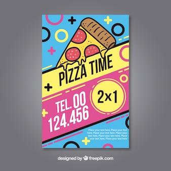 Kleurrijke flyer pizza