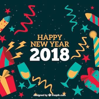 Kleurrijke gelukkig nieuwjaar achtergrond