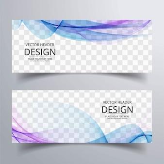 Kleurrijke golvende banners