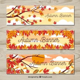 Kleurrijke herfstbanners met bladeren