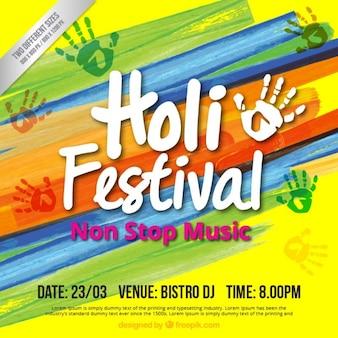 Kleurrijke Holi feest template