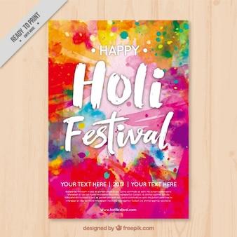 Kleurrijke holi flyer template