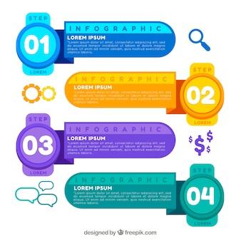 Kleurrijke infogrpahic sjabloon met cijfers
