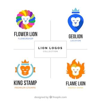 Kleurrijke leeuwen logo's