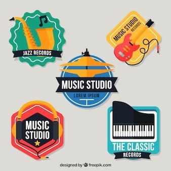 Kleurrijke logo's voor een muziekstudio